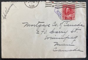 1916 Canadian Army Overseas England Cover To Winnipeg Canada WWI