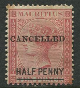 Mauritius - Scott 47 - QV Overprint-1877 - MH - Single 1/2p on a 10p Stamp