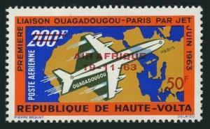 Burkina Faso C10,hinged.Michel 139. 1st Jet flight Ouadadougu-Paris,1963.Map.