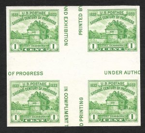 Doyle's_Stamps: Scott #766** NGAI  XF 1935 Cross Gutter Block