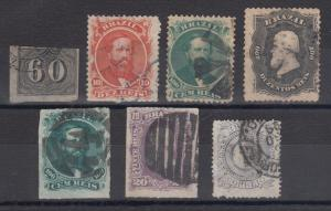 Brazil Sc 24/93 used 1850-1887 issues, 7 different
