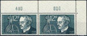 SARRE / SAARGEBIET - 1958 Mi.432 pair with border numerals 480 & 600 **