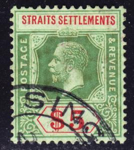 Malaya Straits Settlements Scott 167d wtmk 3 on emerald back Die II. Scarce.