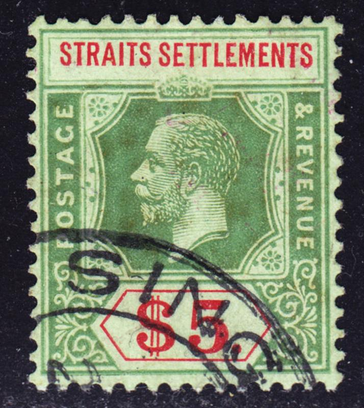 Malaya Straits Settlements Scott 167 d)  wtmk 3  on emerald back Die II. Scarce.
