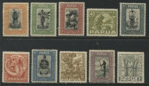 Papua 1932 various values to 1/ mint o.g. hinged