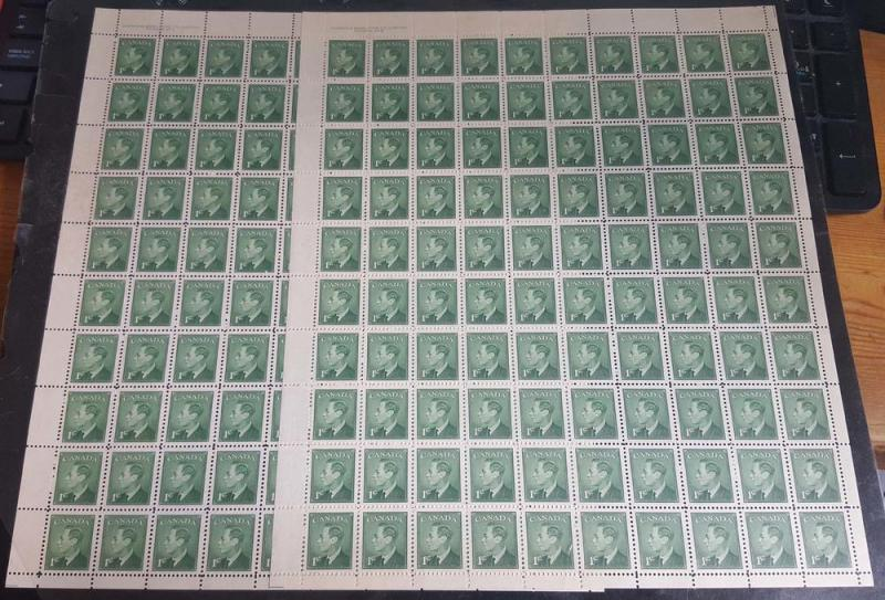 Canada - 1c KGVI POSTES-POSTAGE Omitted Pl. 1 & 2 Sheets