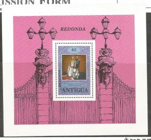 REDONDA, MNH SOUVENIR SHEET, UNLISTED, 25TH ANNIVERSARY OF THE CORONATION OF ...