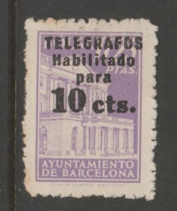 Spain Telegraph Cinderella revenue fiscal stamp- 7-21-