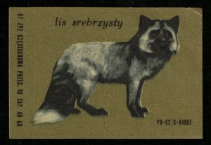 1968, Lis srebrzysty, Animal, Matchbox Label Stamp (ST-215)