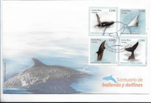COSTA RICA 2008, FDC WHALES AND DOLPHINS, MARINE MAMMALS, SCOTT 619