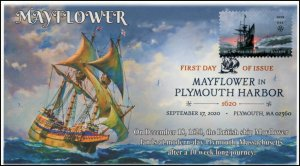 20-238, SC 5524, 2020, Mayflower in Plymouth Bay, FDC, Digital Color Postmark, 4