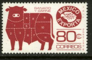 MEXICO Exporta 1168a, 80c Cattle P 14 Wmkd Fosfo Paper 2 MINT, NH. VF.