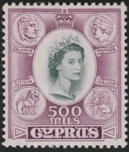 CYPRUS 1955 QE 500m fine mint lightly hinged...............................65731