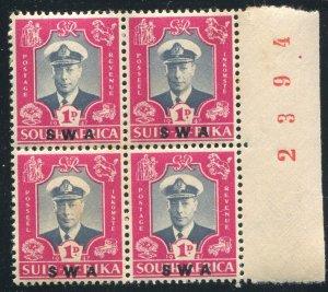 S.W. Africa  Scott#156b, SG#134A 1d Royal Visit KGVI Mint NH OG Plate Block of 4