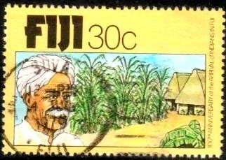 Indian Sugar Cane, Houses, Fiji stamp SC#403 Used
