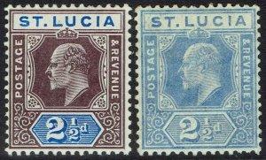 ST LUCIA 1904 KEVII 21/2D BOTH COLOURS WMK MULTI CROWN CA