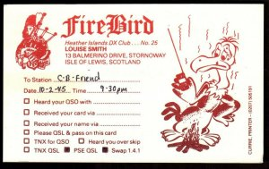 QSL RADIO CARD Bagpipe,Fire Bird,Louise Smith, Isle of Lewis,Scotland (Q3871)