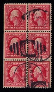 US SCOTT #332 USED BLOCK OF SIX VERY FINE