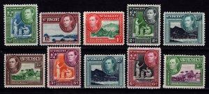 St Vincent 1938-47 George VI definitives (£, s & d), Part Set to 1s [Unused]