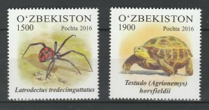 Uzbekistan 2016 Fauna Spiders & Animals 2 MNH stamps