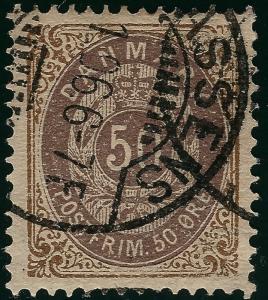 Denmark 1875 Scott #33  VF Cat $30...Great stamp!