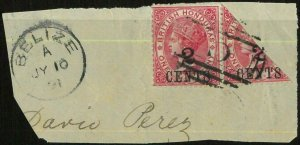 BK0417 - British Honduras - POSTAL HISTORY - SG # 25b BISECTED on COVER cut-out