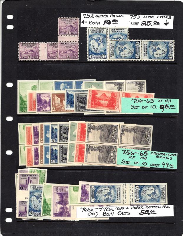 752,753,756-765,766a-770a Mint,OG,NH...C/L Blocks,Gutter Pairs,Line Pairs