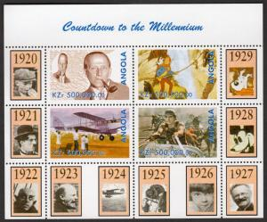 Angola 1999 Countdown to the Millennium/Tintin/Milne/Mickey Mouse(4) PERFORATED