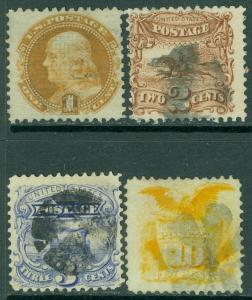 EDW1949SELL : USA 1869 Scott #112-14, 116 Used. Fresh & Choice stamps. Cat $377.