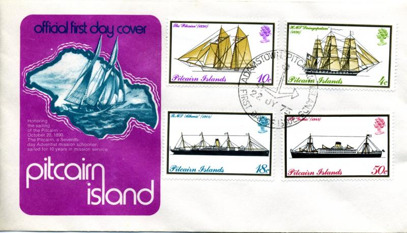 1975 Pitcairn Island Scott 147-150 First Day Cover Sailing Ships Ship FDC