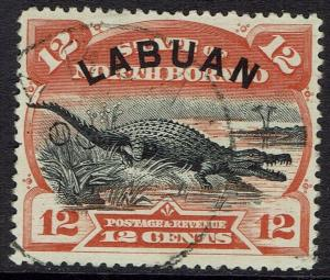 LABUAN 1894 CROCODILE 12C PERF 14.5 - 15 USED