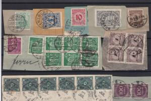 early germany & weimar republic period stamps cancelled on piece ref r11260