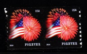 #4853 2014  Star Spangled Banner  Coil Pair (CCL) - MNH