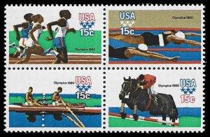 PCBstamps     US #1791/1794a Block 60c(4x15c)Summer Olympics, MNH, (10)