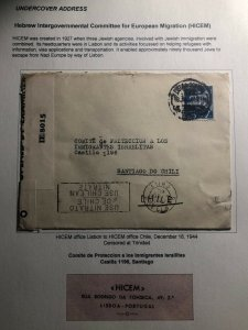1944 HICEM Lisbon Portugal Censored Cover To Santiago Chile Hebrew Committee