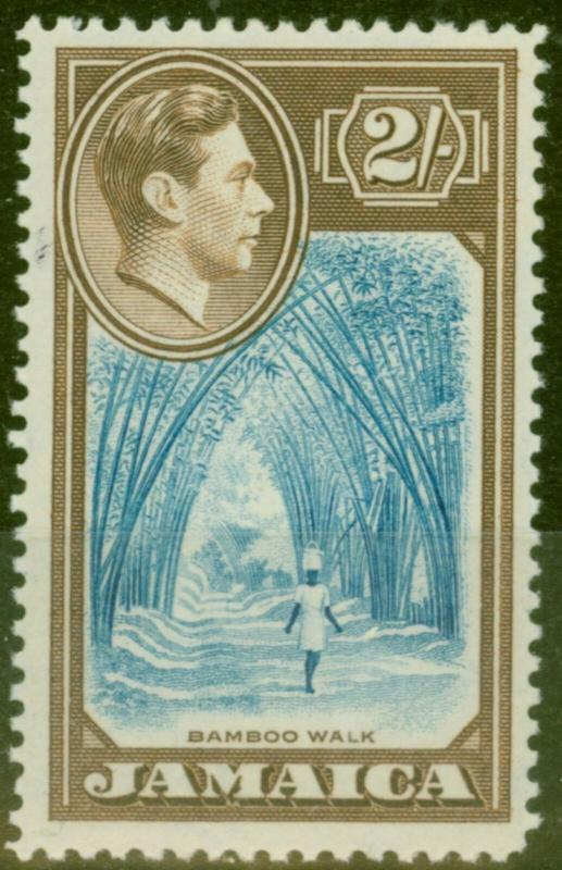 Jamaica 1938 2s Blue & Chocolate SG131 V.F Very Lightly Mtd Mint
