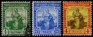 Trinidad & Tobago Scott 1, 4-5 (1913) Used/Mint H F-VF, CV $15.25 M