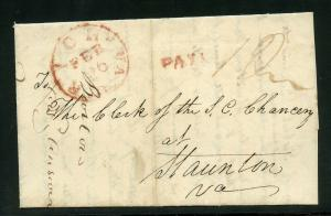 UNITED STATES 1839  RICHMOND VA   RED PAID  CANEL STAMPLESS  COVER LEGAL