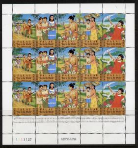 Palau 121a sheet MNH - Christmas, Music, Birds, Flowers