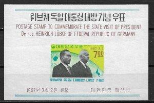 1967 Korea 550a Presidents Park & Lubke MNH S/S