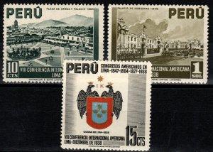 Peru #385-7 MNH  CV $4.50 (X242)