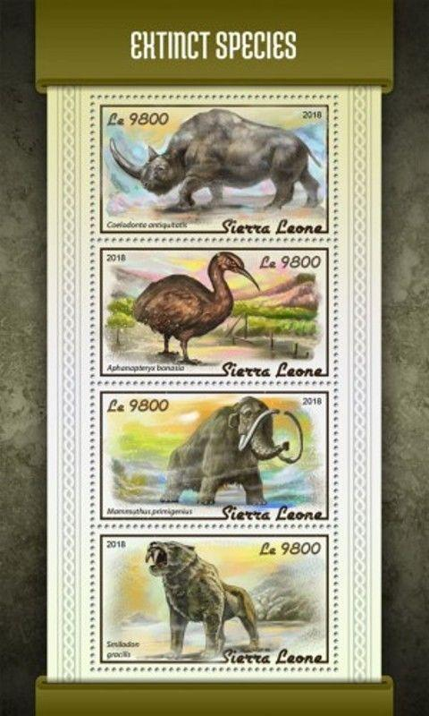 Sierra Leone - 2018 Extinct Species - 4 Stamp Sheet - SRL18117a
