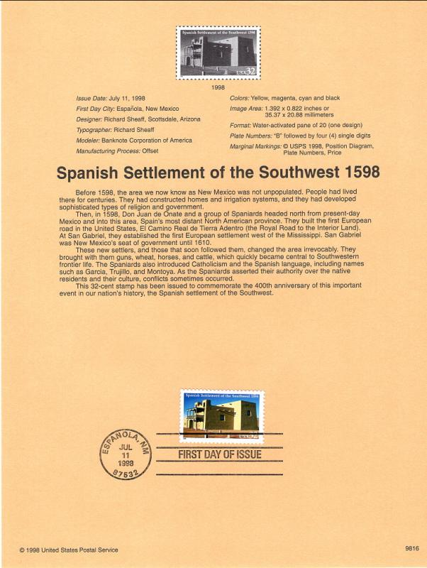 US SP1272 Spanish Settlement 3220 Souvenir Page FDC