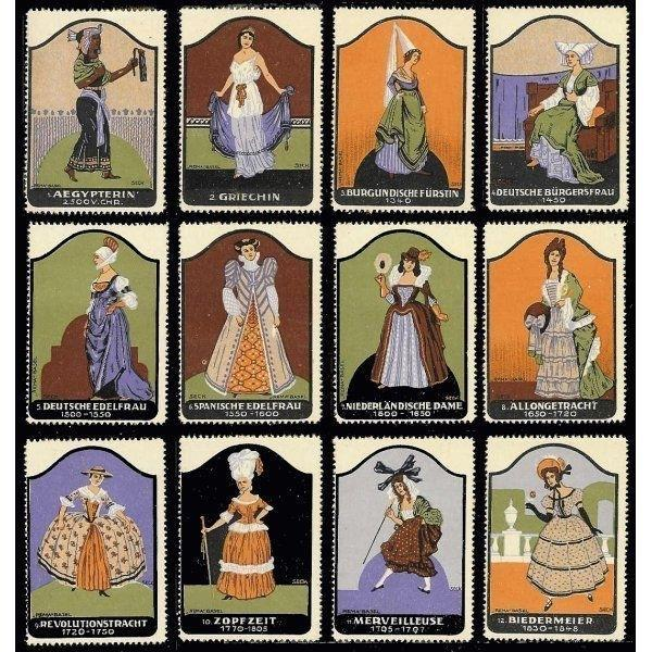Historic Costume Poster Stamps by Fritz Seck