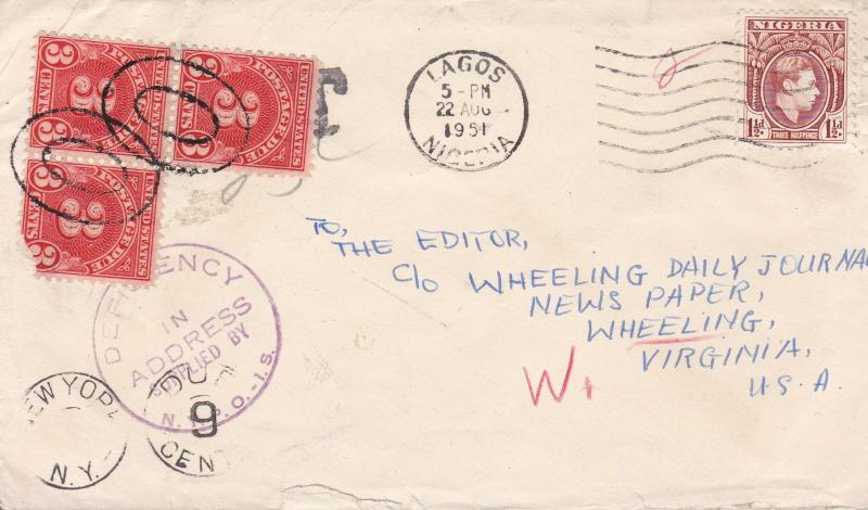 Nigeria 1951 Cover  Lagos to W. Virginia, USA  Nice Postage Due & Auxilary Marks