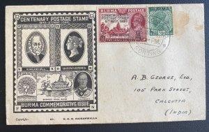 1940 Rangoon Burma First Day Censored Cover To Calcutta India Centenary Postage