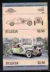 St Lucia 1984 Cars #1 (Leaders of the World) $2.50 Duesen...