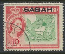 SABAH  SG 412 Used  see scan    North Borneo OPT SABAH