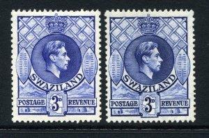 Swaziland 1938 KGVI 3d BOTH SHADES perf 13½x13 SG 32, 32a mint CV £28