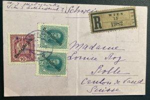 1919 Vienna Austria Postcard Cover To Bolle Switzerland